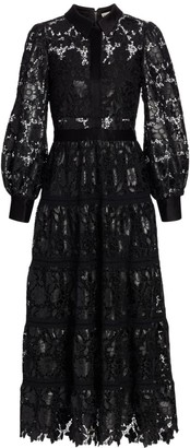 Alice + Olivia Anaya Collared Lace Shirtdress