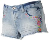 Almost Famous Juniors' Fray Hem Neon Embroidery Shortie Jean Shorts