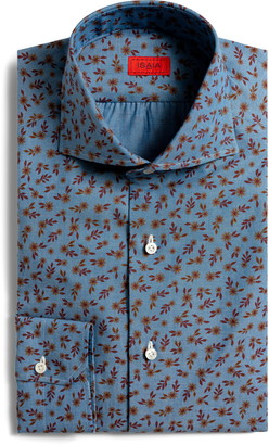 Isaia Slim Fit Floral Print Button-Up Shirt