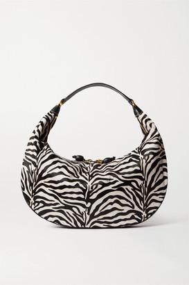STAUD Sasha Textured Leather-trimmed Zebra-print Calf Hair Shoulder Bag - Zebra print