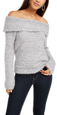 Freshman Juniors' Off-The-Shoulder Fuzzy Sweater
