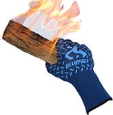 Blue Fire BlueFire Pro Heat Resistant Oven Grilling Welding Gloves -Great for Big Green Egg or Fireplace Accessories. Cut Resistant, Forearm Protection -100% Kevlar EN 407 Certified 932°F Heat Resistance