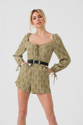 LIENA Long Sleeve Playsuit In Green Tribal Print