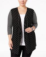 Calvin Klein Plus Size Striped Flyaway Cardigan