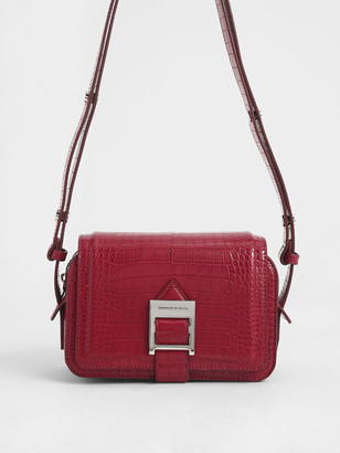 Charles & Keith Buckle Strap Croc-Effect Shoulder Bag