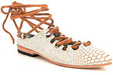 Freebird Enya Cracked Leather Rawhide Lace Ankle Wrap Ballet Flats
