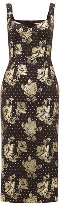 Emilia Wickstead Juditella Darted Floral-brocade Midi Pencil Dress - Womens - Black Gold
