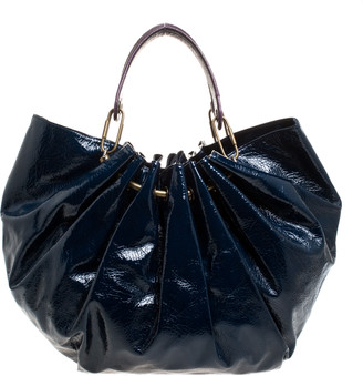 Lanvin Blue Crinkled Patent Leather Sac Polisson Tote