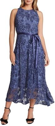 Tahari ASL Petite Sleeveless Soutache Lace Midi Dress with Ribbon Sash (Peri Soutache) Women's Clothing