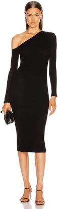 Enza Costa Sweater Knit Angled Neck Midi Dress in Black | FWRD