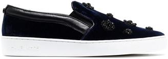 MICHAEL Michael Kors Leather-trimmed Embellished Velvet Slip-on Sneakers