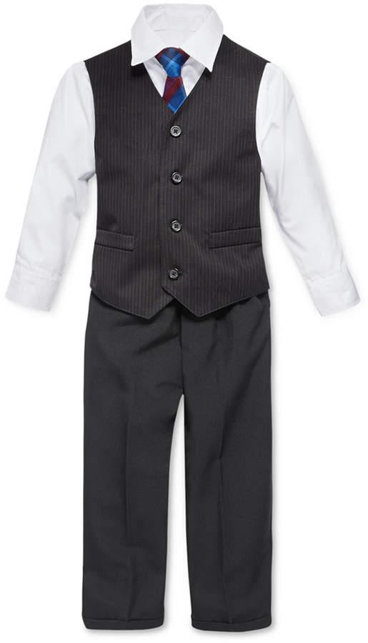 Nautica (ノーティカ) - Nautica Little Boys' 4-Piece Tie, White Shirt, Pinstripe Vest, Black Pant Vest Set. Little Boys