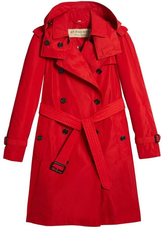 Burberry detachable hood tafetta trench coat