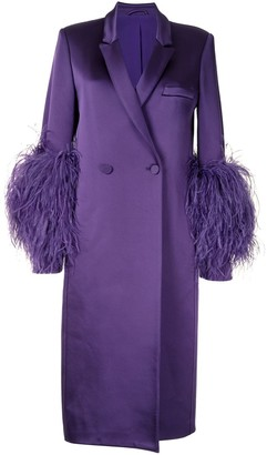 Sally LaPointe Feather Trimmed Satin Coat