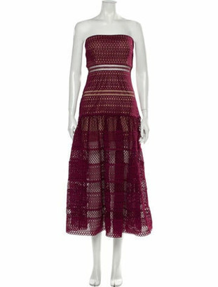 Self-Portrait Lace Pattern Midi Length Dress