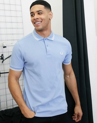 Fred Perry twin tipped logo polo in light blue
