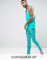 Asos Pajama Set In Flamingo Print
