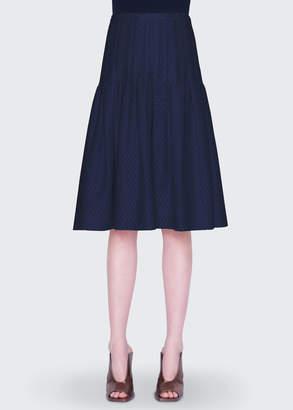 Akris Punto Tiered Eyelet Lace Midi Skirt