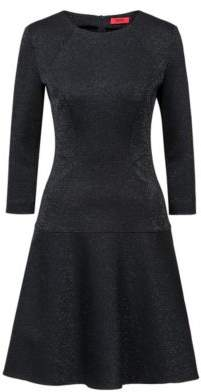 HUGO Regular-fit dress in sparkly fabric with long sleeves