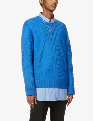 Neil Barrett Cable-knit crewneck knitted jumper