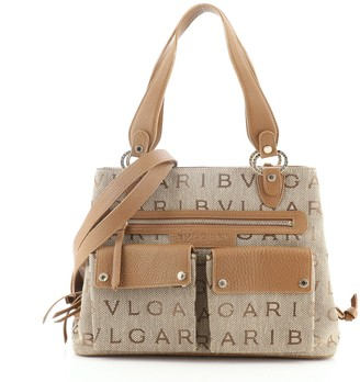 Bvlgari Double Front Pocket Convertible Tote Canvas with Leather Medium