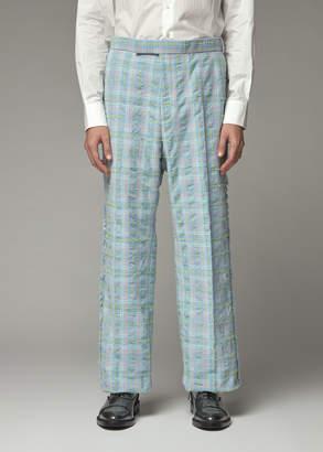 Thom Browne Men's Frayed Edge Seersucker Tweed Trouser Pants Size 5 Cotton/Polyamide/Cupro Lining