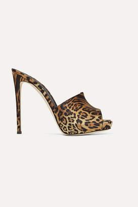 Giuseppe Zanotti Leopard-print Satin Mules - Leopard print