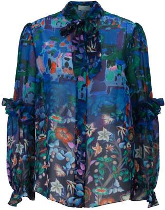 Peter Pilotto Silk Floral Pussybow Blouse