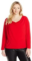 Calvin Klein Women's Plus-Size Knit Top with Chiffon Overlay