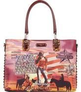 Nicole Lee Women's Cowgirl Flag Western Print Tote Bag