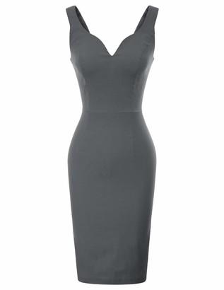 GRACE KARIN Summer Slim Bodycon Dress 50s Rockabilly Midi Party Wedding Dress Sleeveless V-Neck Ball Dress XXL Red