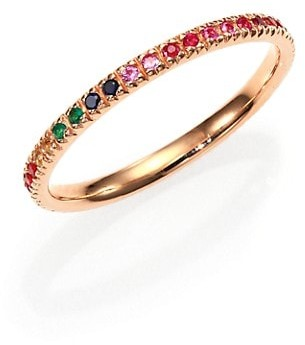 Sydney Evan Multicolor Sapphire, Ruby, Emerald & 14K Rose Gold Rainbow Eternity Band Ring
