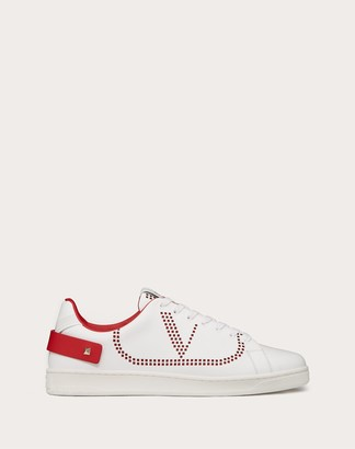 Valentino Backnet Calfskin Sneaker Women White/pure Red Leather 35