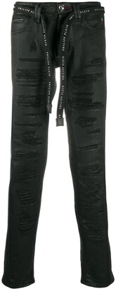 Philipp Plein Super Straight Cut Destroyed Jeans