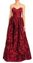 Oscar de la Renta Red Strapless Dress
