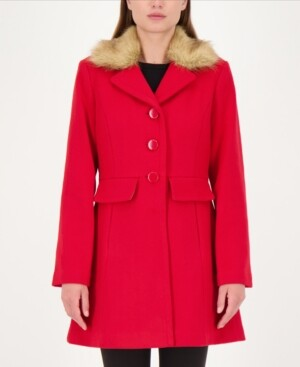 Kate Spade Faux-Fur Trim Walker Coat, Created for Macy's