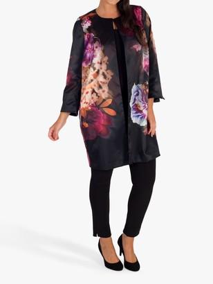 Chesca Floral Print Satin Evening Jacket, Black/Pink