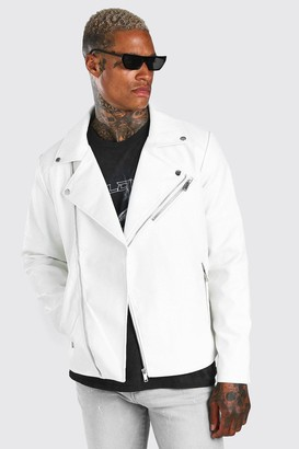 boohoo Mens White Croc Leather Look Biker Jacket, White