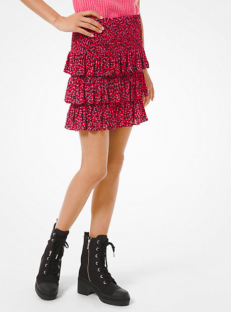 MICHAEL Michael Kors MK Petal Stretch Viscose Tiered Ruffle Skirt - Black Combo - Michael Kors