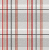 """55"""" Round Burberry Red & Grey Vinyl Tablecloth Non-Woven Backing (Seats 2-5 People)"""