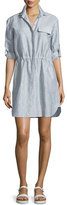 ATM Anthony Thomas Melillo Crinkled Snap-Front Shirtdress, Indigo/White