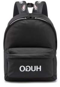 HUGO Reverse-logo backpack in nylon gabardine