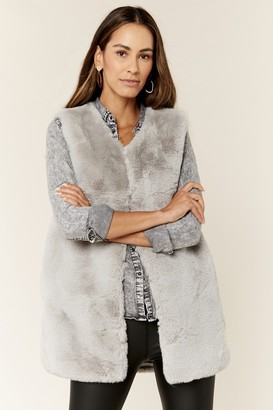 Gini London Silver No Cut Faux Fur Sleeveless Gilet