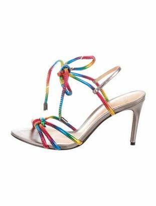 Alexandre Birman Leather Colorblock Pattern Sandals w/ Tags Silver
