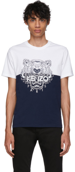 4e0d0297ac White and Navy Limited Edition Colorblock Tiger T-Shirt