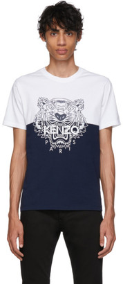 Kenzo White and Navy Limited Edition Colorblock Tiger T-Shirt