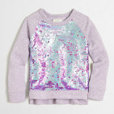 J.Crew Factory Girls' sequin-front popover sweasthirt