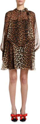 No.21 Leopard Tie-Neck Blouson-Sleeve Keyhole Mini Silk Dress
