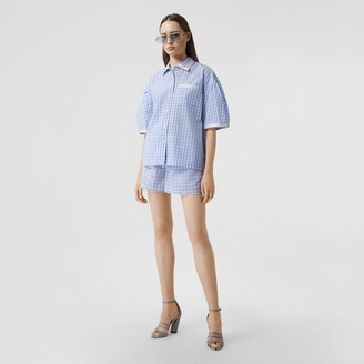 Burberry Puff-sleeve Gingham Cotton Oversized Shirt