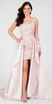 Terani Couture Square Neck Lace Over Skirt Evening Dress